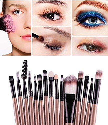 Demarkt-15-piezas-Brocha-Para-Maquillaje-Set-de-herramientas-Base-Polvo-Kit-Lana