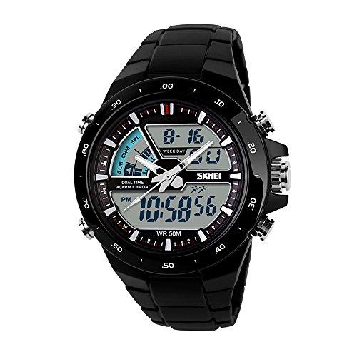Skmei Casual Fashion Reloj Hombre Analógico Digital Negro Cronómetro Deporte Deportivo Reloj de Pulsara de Marca