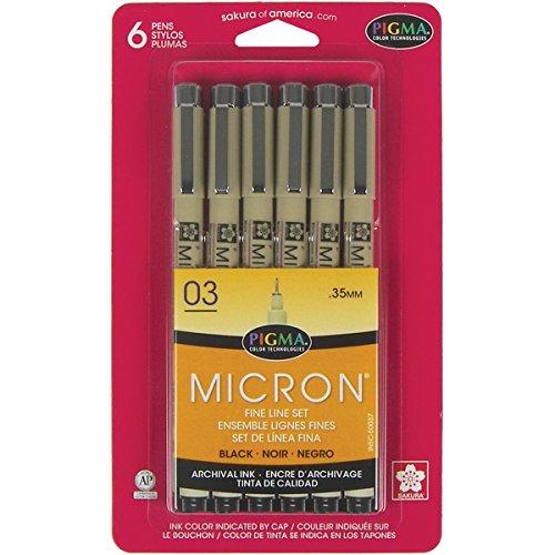 Pens 03 .35mm 6/Pkg-Black ()