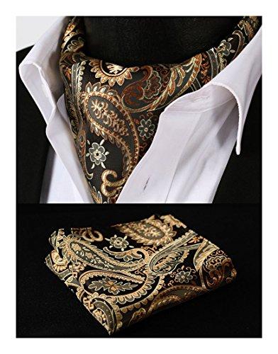 Hisdern Herren Ascot-Set mit floralem Muster, aus gewebtem Jacquard Gr. Einheitsgröße, Gold / Orange