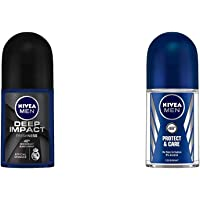 NIVEA Men Deodorant Roll On, Deep Impact Freshness, 50ml & NIVEA Men Deodorant Roll On, Protect & Care, 50ml