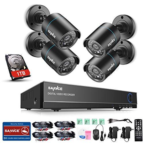 SANNCE Kit di Sorveglianza 1080P Lite DVR TVI 8 Canali 4 Telecamera Sorveglianza Esterno 720P Kit Videosorveglianza 1.0 MP H.264 ONVIF Porta HDMI, Motion Detection, P2P Cloud, Visione Notturna 1TB HDD