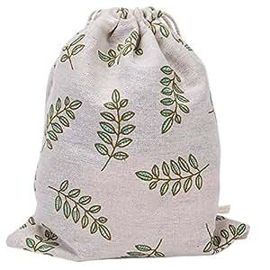 Laat Rangement multi-fonctionnels sacchetto in tela borsa a cavo riutilizzabile a l' Ecolabel sacchetto a Cinch grande capacità–Fogli di oliva verde, Cotone, Feuilles d'olive verte, 32X25cm