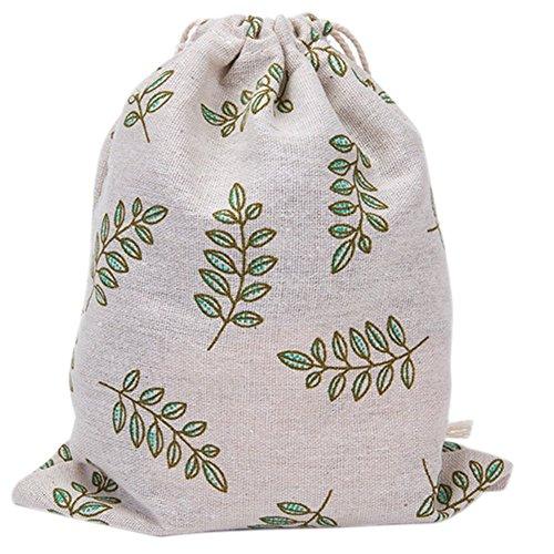 Laat Rangement multi-fonctionnels sacchetto in tela borsa a cavo riutilizzabile a l' Ecolabel sacchetto a Cinch grande capacità–Fogli di oliva verde, Cotone, Feuilles d'olive verte, 19XC24cm