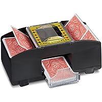 Relaxdays 10020520 - Relaxdays Mescola Carte Automatico, con 2 Livelli, Ideale per Carte da Poker, Briscola, 1 Bottone, Nero