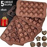 Stampi in silicone per cioccolatini + 5 eBook di ricette - Confezione da 6 stampi antiaderenti per cioccolato - stampo in silicone senza BPA