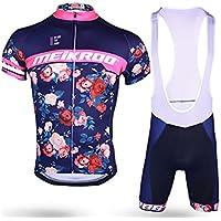 XDXDWEWERT Pantalones de Ciclismo Pantalones de Montar en BIC Traje de Ciclismo para Hombres + pantalón Corto de arnés Lleno de 3D Traje de Babero Transpirable y de Secado rápido Rose L