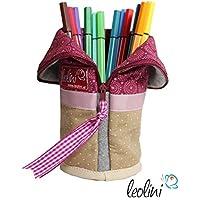 Handmade Federmäppchen Stiftetasche Schminktasche mit Wunschname Stickerei Geschenk Geburtstag Mandalablumen magenta