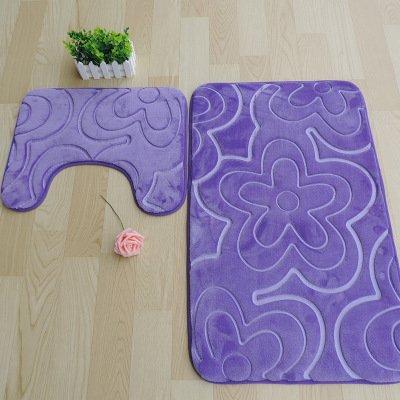 Pad assorbente lento tappeto pavimento tappetini bagno due pezzi igienici u-skid , flowers purple , (2 Pezzi Ottomana)
