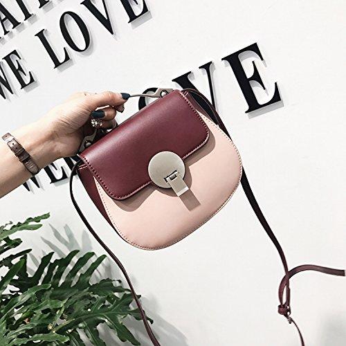 Damenbekleidung Hardware Griff Schlag Farbe Lock Tasche Schulter Messenger Bag Mode Einfaches Paket Rotwein