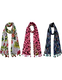 FusFus Women's Cotton Combo Of 3 Scarves (Multicolor_Free Size)