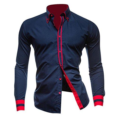 Jeansian Hombre Camisas Moda Manga Larga Men Fashion Slim Fit Casual Long Sleeves Shirts 8697 Navy XS