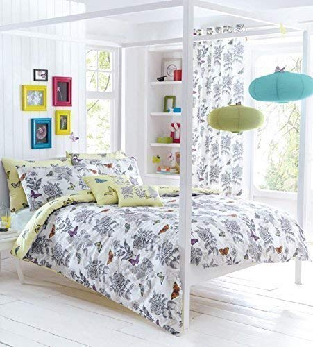 BLANC GRIS BEIGE PAPILLON FLEURI HACHURES croisées duvet individuel Housse confortable