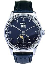 Reloj modelo 2061 PARNIS rhöna correa de acero-Reloj de fase lunar indicador de fecha grande Seagull