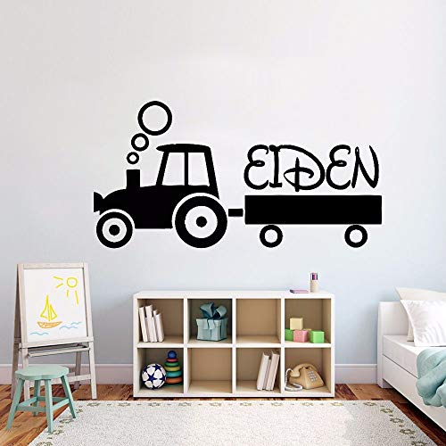 zqyjhkou Kids Tractor Personalisierte Name Wandaufkleber Teenager Room Decor Name Vinyl Wandtattoo Design Traktor Vinyl Kunst 42x22 cm