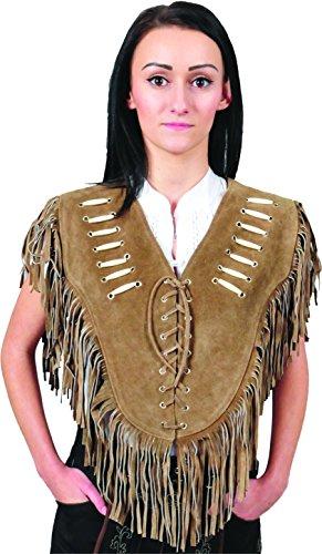 Preisvergleich Produktbild Western Collar Leder Poncho Damen mit Fransen Straßenkarneval Wildleder verziert - XS - 2XL lang- 3 Farben- Schwarz, hell Braun, Cognac (XL, Camel)