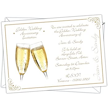 Personalised Golden Wedding 50th Anniversary Invitations (Design Code: GWA  006) (Pack Of 12)