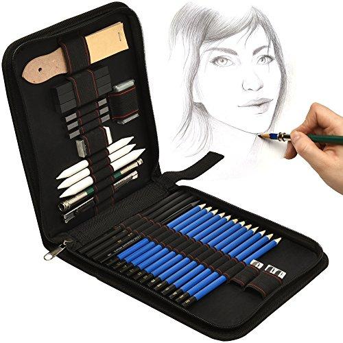 Artina 33tlg Bleistifte Set Bari - Zeichenset Zeichenstifte, Skizzierstifte, Graphitstifte - Mit viel Zubehör & Tasche
