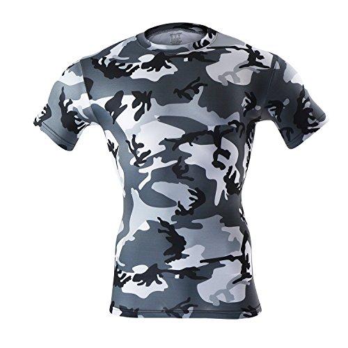 M.Baxter Herren Fitness T-Shirt Funktionsshirt Running Kompressionsshirt Sportswear Shirts Kurzarm Laufshirt Atmungsaktiv (Lauren Baumwoll-henley)