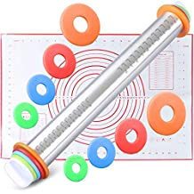 WisFox Ajustable Antiadherente Fondant Rolling Pins con Discos Ajustables y Marcado de Medición + Silicona para