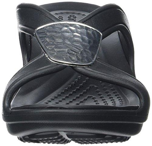 Crocs Snrhembllshdwdg, Sandales Bout Ouvert Femme Noir (Black/Silver Metallic)