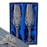 Kristallglas, Zwei Vollständig Geschnitten, 24% Bleikristall Sekt-/ Champagnergläser, in einer Samtunterlegten Präsentationsbox mit Geschenkverpackung und Schleifen wie angezeigt, Hochzeit, Hochzeitstag, Geburtstag, Geschenk zum Ruhestand