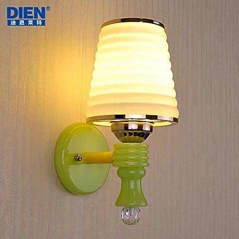 BBSLT Semplice moderno imitazione giada parete LED lampada lampada da comodino soggiorno parete camera da letto sala da pranzo studio camera portico luce , single head (send led warm white)