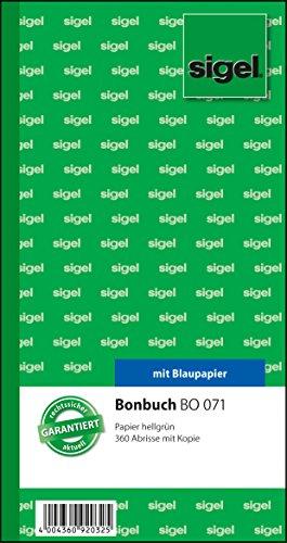 Sigel BO071 Bonbuch, 360 Abrisse, hellgrün, 10,5 x 20 cm, 2x60 Blatt