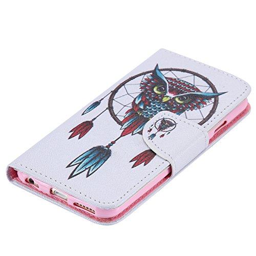 Ooboom® iPhone 5SE Hülle Flip PU Leder Schutzhülle Handy Tasche Case Cover Wallet Standfunktion mit Kartenfächer für iPhone 5SE - Wolf Eule