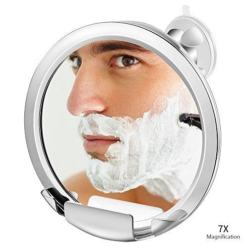 Jerrybox Antibeschlag Duschspiegel mit 7-Fache Vergrößerung, Saugnapf Rasierspiegel mit Halterung,...