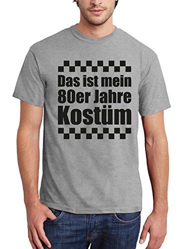 clothinx Herren T-Shirt Karneval Das ist mein 80er Jahre Kostüm Sports Grey mit schwarzem Aufdruck