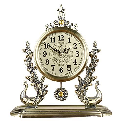 CLLCR Wohnzimmeruhr Im Europäischen Stil, Metalldekoration Uhr, Große Stumme Retro-Quarzuhr, Home-Persönlichkeit Kreative Mode Uhr, Kamin Uhr, Pendeluhr,8312 8319,Einheitsgröße - Kamin Uhr
