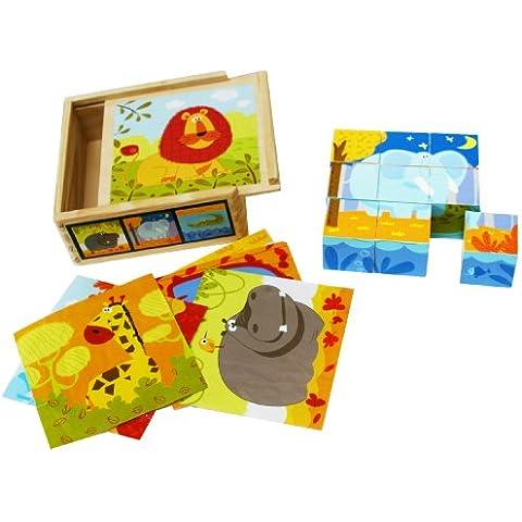 Bloques de madera del rompecabezas - 9 Cubos de animales silvestres en una caja de madera