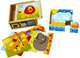 TOWO Wooden Blocks Cube Puzzles - Wooden Cube Jigsaw Puzzles 9 Wooden Cubes Blocks to make 6 Wild Animals Pictures in a Wooden Box - Wooden Toys for 2 years old