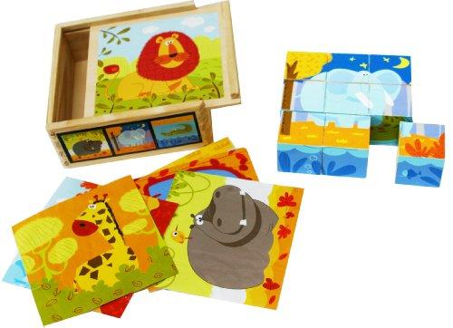 Toys of Wood Oxford TOWO Holz Puzzle mit großen Würfeln für Kleinkinder - 9 Würfel mit 6 Wilden Tieren in Einer Holztruhe - Puzzlen nach Schablone - Holzpuzzle Holzspielzeug