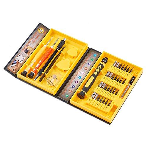 Asvert 38 in 1 Multifunktions Präzisions Schraubendreher Set Reparatur Schraubenzieher Set Kompakt Schraubendreher Kit, Gelb (Große Pda-fall)