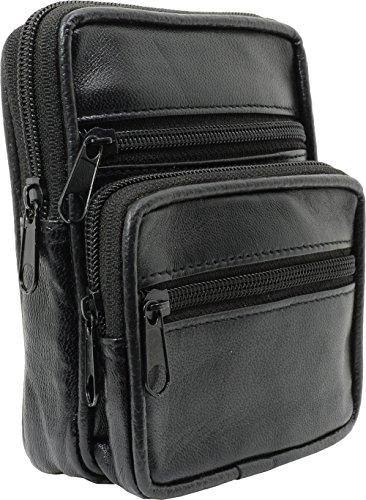 Impex Gürtel Tasche Lamm Nappa Leder schwarz uni - Hüfttasche für Kamera Smartphone oder Geldbörse - Viele Fächer Stauraum (Lamm-mobile)