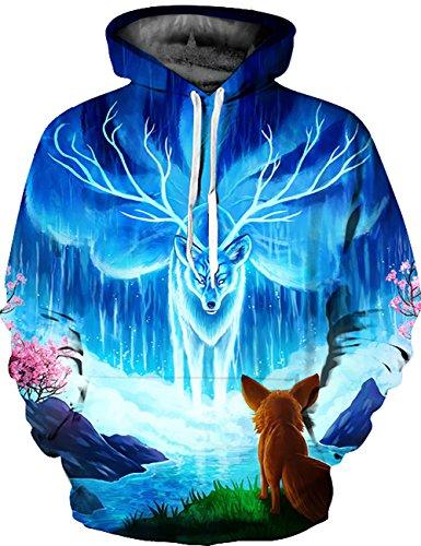 KamiraCoco Herren Kapuzenpullover 3D Druck Muster Hoodie Weihnachten Halloween Sweatshirt Pullover (S / M, Berge elche)