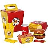 Joyibay Kinder Spielen Lebensmittel Spielzeug Holz Mini Hamburger Spielzeug Fast Food Spielzeug für Kinder