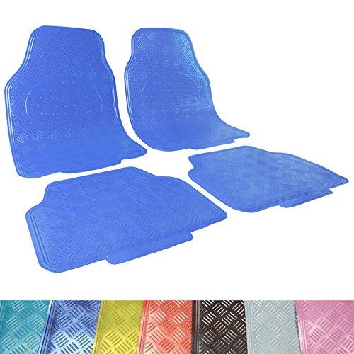 Preisvergleich Produktbild WOLTU Universal Auto Fußmatten Matten 4-teilig ALU Look Chorm Optik Riffelblech Aquamarin Klassisch Blau AM7170kb