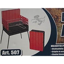 Barbecue Rettangolare Richiudubile A Valigetta, Griglia In Acciaio Cromato E Piedini Gommati.