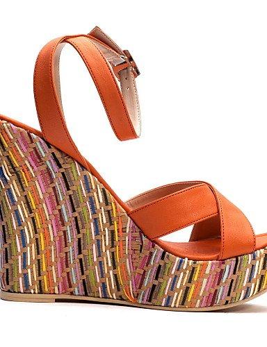 UWSZZ Die Sandalen elegante Comfort Schuhe Frau - Sandalen - formale-Tick - Keil - Kunstleder - Blau almond
