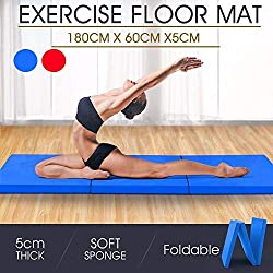 Colchoneta Plegable de Gimnasia Maleta de 3 Pliegues Para Fitness Deportiva Pilates Gimnasia Ejercicio,180* 60* 5cm Rojo y Azul
