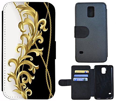 Schutz Hülle Flip Cover Handy Tasche Etui Case für (Apple iPhone 5 / 5s, 1096 Katze und Maus Braun Grau) 1092 Ranke Schwarz Weiß Gold