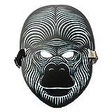 Sound Reaktive LED Halloween Masken,TIREOW Sound Reactive LED Maske Tanz Rave Licht Einstellbare Maske Für Festival,Cosplay,Halloween,Kostüm,Batterie Angetrieben (C)