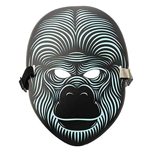 7Lucky Sound Reaktive LED Halloween Masken,Sound Reactive LED Maske Tanz Rave Licht Einstellbare Maske Für Festival,Cosplay,Halloween,Kostüm,Batterie Angetrieben (C)