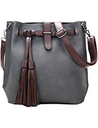 Ocamo Women Fashion Tassel Handbag Shoulder Bag PU Leather All-Match Messenger Bag Satchel Tote