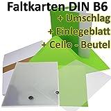 50 Stück // DIN B6 Faltkarten + Umschläge + Einlegeblätter + Cellobeutel // HELL-GRÜN // Größe: 23 x 17 cm (gefaltet 11,5 x 17 cm) // 240 g/qm // Aus der Serie FarbenFroh von NEUSER!