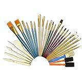 Artina Set da 30 pennelli per pittura - per dipingere con colori a olio acquerelli acrilici - per artisti e principianti