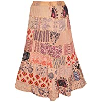 Mogul Interior Womens Bohemian Skirt Vintage PeACH Patchwork Handmade
